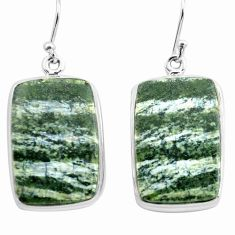 925 silver 28.30cts natural green seraphinite (russian) dangle earrings p72769