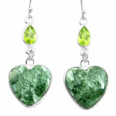 925 silver 18.39cts natural green seraphinite (russian) dangle earrings p78559