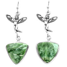 925 silver 15.65cts natural green seraphinite angel wings fairy earrings p72554