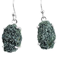 925 silver 15.02cts natural green seraphinite in quartz dangle earrings p50393