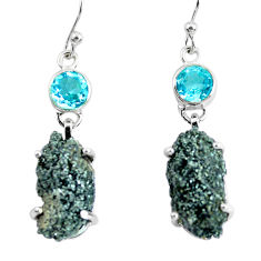 925 silver 21.53cts natural green seraphinite in quartz dangle earrings p50396