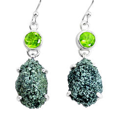 925 silver 22.57cts natural green seraphinite in quartz dangle earrings p50399