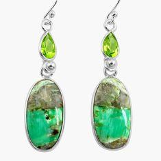925 silver 17.32cts natural green variscite peridot dangle earrings p78633