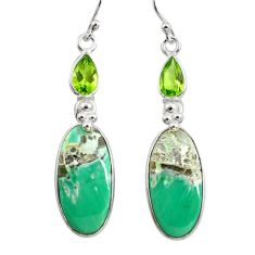 925 silver 17.90cts natural green variscite peridot dangle earrings p78638