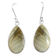 925 silver 17.35cts natural grey striped flint ohio dangle earrings p50811