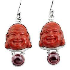 925 silver 17.55cts natural jasper red garnet buddha charm earrings p78149