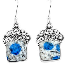 925 silver 14.41cts natural k2 blue (azurite in quartz) dangle earrings p34944