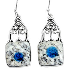 925 silver 15.16cts natural k2 blue (azurite in quartz) dangle earrings p34984