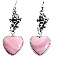 925 silver 19.66cts natural lace agate heart cupid angel wings earrings p91812