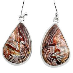 925 silver 20.65cts natural mexican laguna lace agate dangle earrings p88815