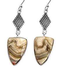 925 silver 12.58cts natural mexican laguna lace agate dangle earrings p91873