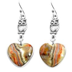 925 silver 10.65cts natural mexican laguna lace agate owl earrings p72513