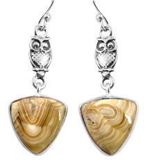 925 silver 11.20cts natural mexican laguna lace agate owl earrings p91869
