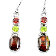 925 silver 8.73cts natural multi color ammolite (canadian) earrings p64644