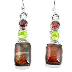 925 silver 10.31cts natural multi color ammolite (canadian) earrings p64649