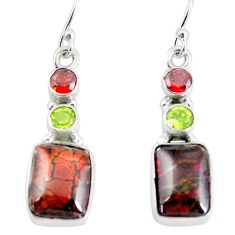 925 silver 10.02cts natural multi color ammolite (canadian) earrings p64655