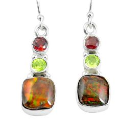 925 silver 9.61cts natural multi color ammolite (canadian) earrings p64657