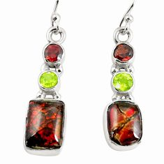 925 silver 9.61cts natural multi color ammolite (canadian) earrings p64673