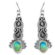 925 silver 3.17cts natural multi color ethiopian opal dangle earrings p80804