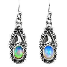 925 silver 2.82cts natural multi color ethiopian opal dangle earrings p80816
