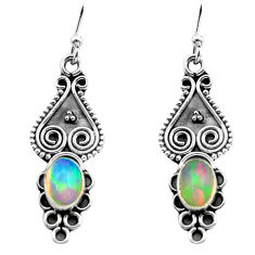 925 silver 2.92cts natural multi color ethiopian opal dangle earrings p80828