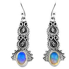 925 silver 2.92cts natural multi color ethiopian opal dangle earrings p80836