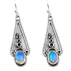 925 silver 3.05cts natural multi color ethiopian opal dangle earrings p80856