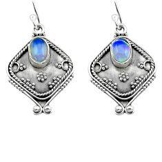 925 silver 3.30cts natural multi color ethiopian opal dangle earrings p80877