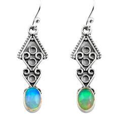 925 silver 2.71cts natural multi color ethiopian opal dangle earrings p80884