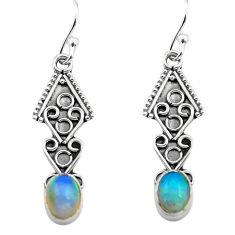925 silver 2.96cts natural multi color ethiopian opal dangle earrings p80900
