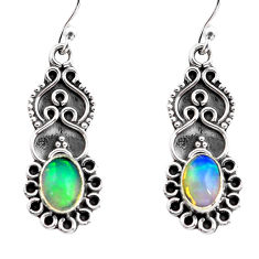 925 silver 3.09cts natural multi color ethiopian opal dangle earrings p87611