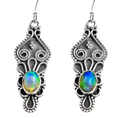 925 silver 3.50cts natural multi color ethiopian opal dangle earrings p87628