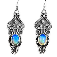 925 silver 3.51cts natural multi color ethiopian opal dangle earrings p87648