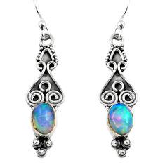 925 silver 2.80cts natural multi color ethiopian opal dangle earrings p87652
