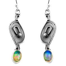 925 silver 2.92cts natural multi color ethiopian opal dangle earrings p87664