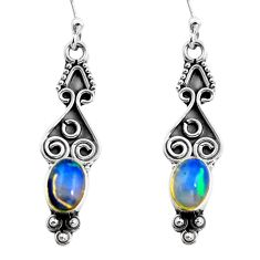 925 silver 3.32cts natural multi color ethiopian opal dangle earrings p87676