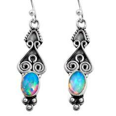 925 silver 3.32cts natural multi color ethiopian opal dangle earrings p92708