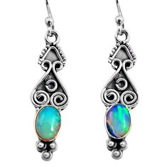 925 silver 3.95cts natural multi color ethiopian opal dangle earrings p92719