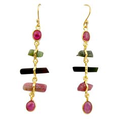 925 silver 11.28cts natural multi color tourmaline 14k gold earrings p91784