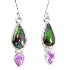 925 silver 8.73cts natural multicolor ammolite (canadian) dangle earrings p32574