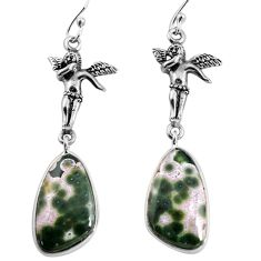 925 silver 15.08cts natural ocean sea jasper angel wings fairy earrings p91877