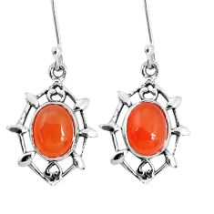 925 silver 6.70cts natural orange cornelian (carnelian) dangle earrings p58167