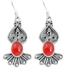 925 silver 4.42cts natural orange cornelian (carnelian) dangle earrings p60144