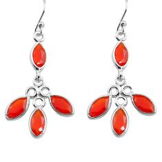 925 silver 10.61cts natural orange cornelian (carnelian) dangle earrings p77393