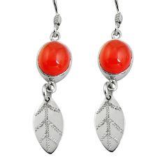 925 silver 10.31cts natural orange cornelian deltoid leaf earrings d32432