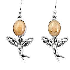 925 silver 6.30cts natural orange morganite angel wings fairy earrings p60850