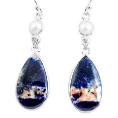 925 silver 17.90cts natural orange sodalite white pearl dangle earrings p78544