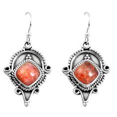 925 silver 6.54cts natural orange sunstone (hematite feldspar) earrings p52853
