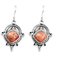 925 silver 8.77cts natural orange sunstone (hematite feldspar) earrings p58200