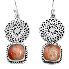 925 silver 7.40cts natural orange sunstone two cats earrings jewelry p60860